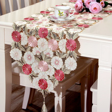 40*210 CM Luxurious Elegant Embroidered Table Runner Pastoral Style Waterproof Oil Tricolor Tablecloths