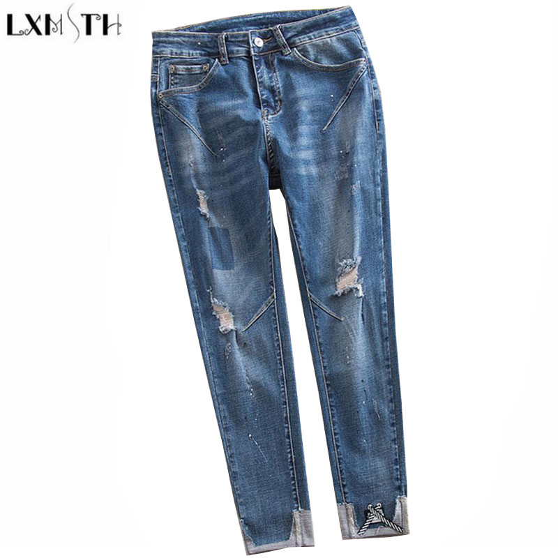 LXMSTH 26-40 Large Size Women jeans 2018 New Arrival Hole High Waist Loose jeans Woman Casual Ankle Length Pants Ripped Trousers new summer vintage women ripped hole jeans high waist floral embroidery loose fashion ankle length women denim jeans harem pants page 3