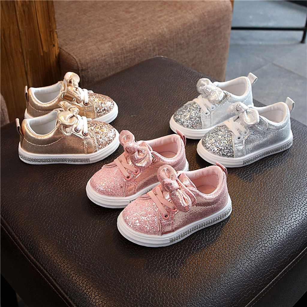 ילדי נעלי קיץ מזדמן תינוק בנות בני בלינג פאייטים נעל Bowknot קריסטל ספורט ילד נעלי ריצה לנשימה נעלי ספורט במבין