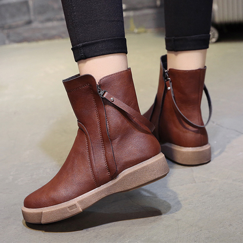 Women Snow Boots Ankle Boots Comfort Fall Winter Faux Suede Thick Sold 4cm High Heel Plush Warm Shoes Woman Ladies Botas Mujer women boots winter plush warm ankle snow boots with zippers ladies fur platform shoes woman comfort thick sold black botas mujer