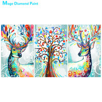 Abstract animal Elk Triple Diamond Painting Full Round abstract Oil painting style New DIY Sticking Drill Cross Embroidery 5D
