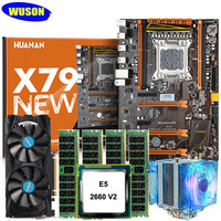 HUANAN Deluxe X79 Deluxe Gaming Motherboard CPU Xeon E5 2660 V2 With CPU Cooler RAM 64G