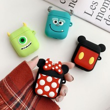 Hot Cartoon Mickey and Minnie decorative Silicone Bluetooth Wireless Earphone Case For AirPods Protective Cover Skin case