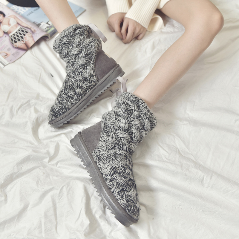 Stylish Knitted wool upper Women's Winter Boots Warm Snow Boots Women Mid Boots Ladies Thick Plush Flock Women Shoes 1151h