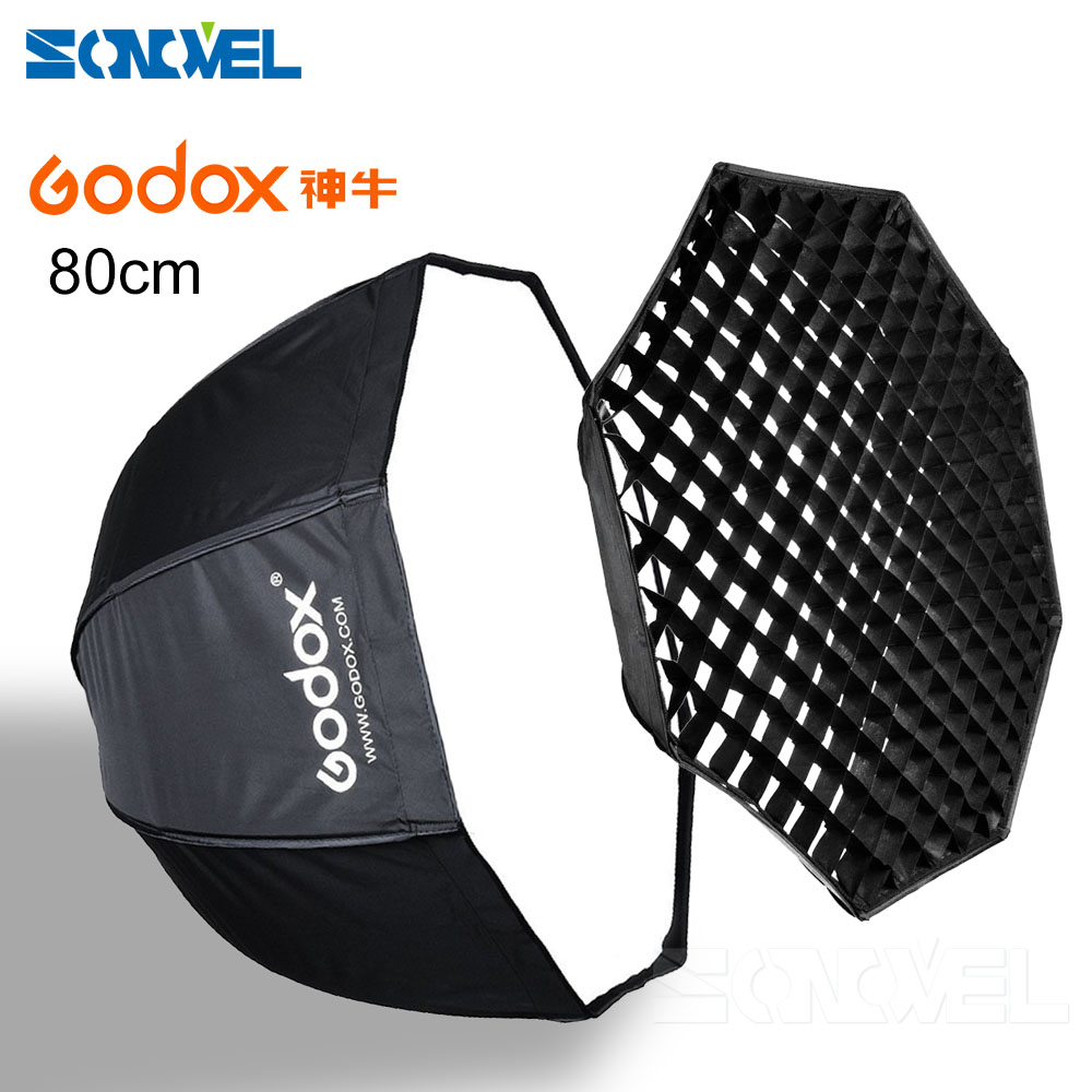 GODOX 80cm / 32 Honeycomb Grid Octagon Umbrella Softbox Photo Studio Flash Speedlite Diffuser Reflector godox 120cm octagon flash speedlite studio photo light soft box w grid honeycomb umbrella softbox bowens mount