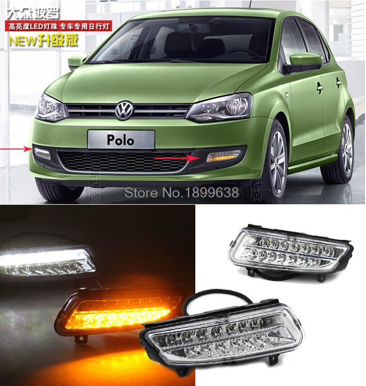 High quality and Waterproof Car DRL Daytime running lights with turn signals light for Volkswagen Polo Mk5 Vento 2010-2013 for vw volkswagen polo mk5 6r hatchback 2010 2015 car rear lights covers led drl turn signals brake reverse tail decoration