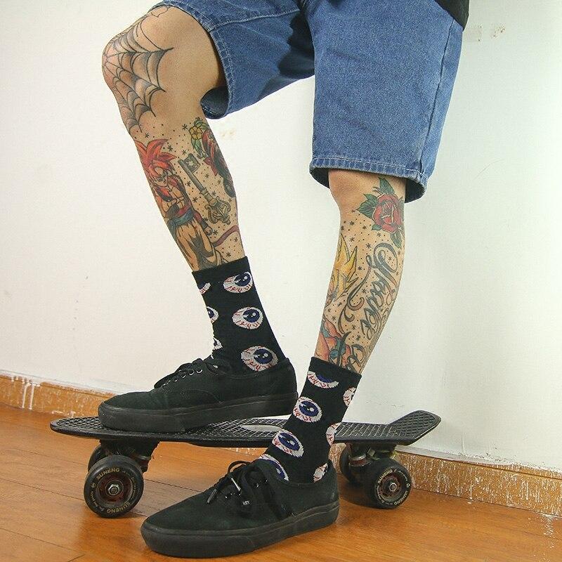 IMINCN 1Pair Sport Casual Eyeball Hiphop Harajuku Cute Patter Ankle Socks Hipster Skateboard Man Ankle Funny Socks