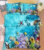 3D Starfish Sea  Bed Pillowcases Quilt Duvet Cover Set Single Queen