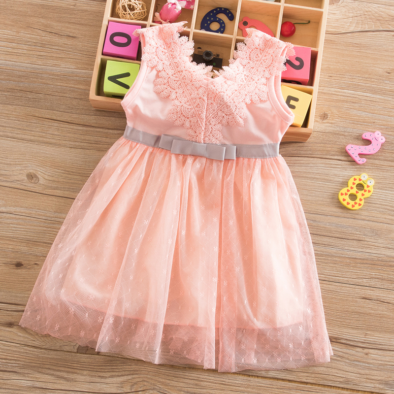 Baby Girl Party Lace Tulle Flower Gown Fancy Sundress Girls Dress Pink Princess Dresses Toddler Girl Clothing Vestido Infantil 1
