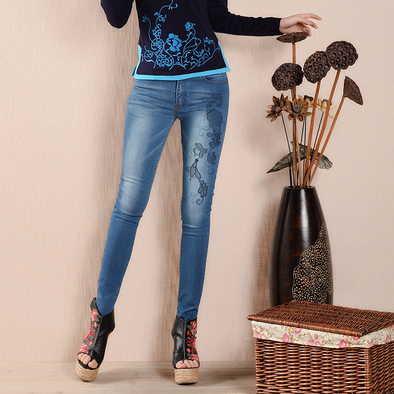 Women Skinny Denim Pencil Pants Woman Mid Waist Boyfriend Casual Floral Embroidery Jeans Female Length Trousers L935 2017 spring new women sweet floral embroidery pastoralism denim jeans pockets ankle length pants ladies casual trouse top118