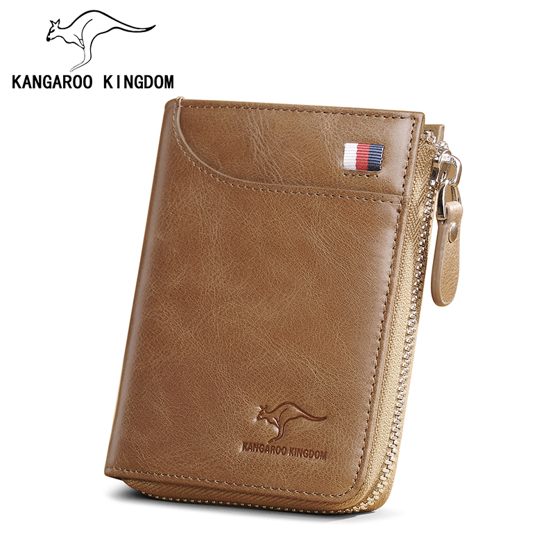 KANGAROO KINGDOM vintage genuine leather men wallets casual male zipper purse card holder with coin pocket kangaroo pocket drop shoulder color block sweatshirt