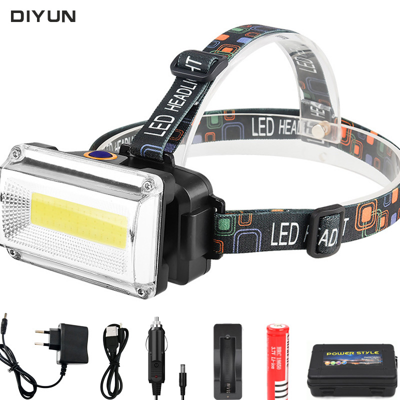 Powerful COB LED Headlight  10000LM DC Rechargeable Headlamp 3Modes Waterproof Head Torch With 18650 Battery For Hunting Fishing
