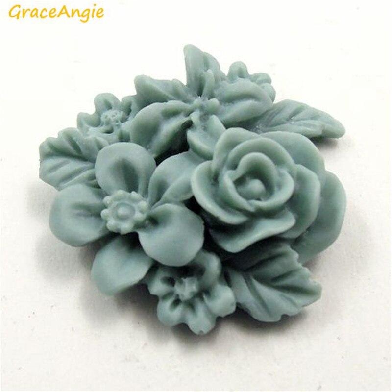 GraceAngie 15 шт. матовый синий смолы цветок камея ручной работы, уникальные Для женщин Ювелирные серьги Цепочки и ожерелья найти чехол для телефо…