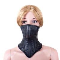 Nowe style leather sex BDSM fetysz bondage umocowania Pół twarzy maska maska szyi dorosłych sex zabawki dla par sex produkty