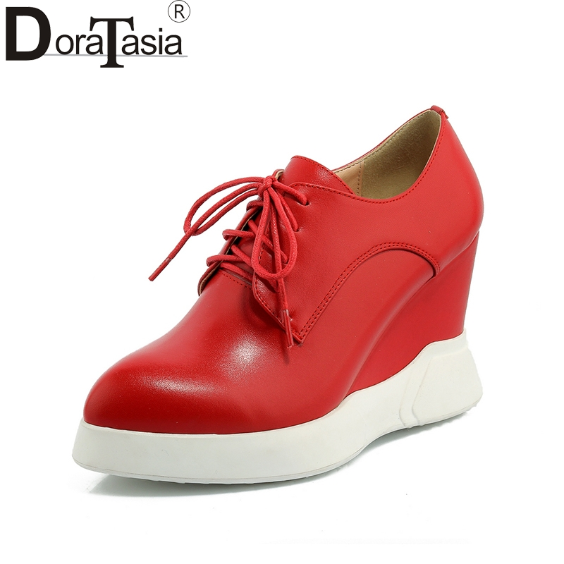 2018 new top quality dropship lace up genuine leather shoes women fashion wedges high heels cow leather casual shoes high quality genuine leather women shoes fashion female casual shoes heart