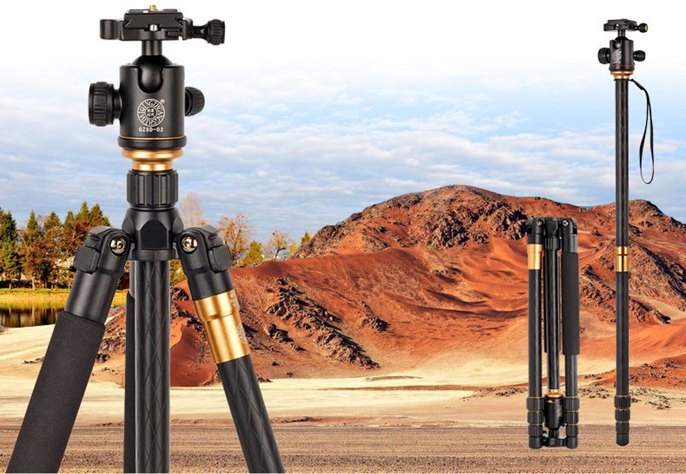 QZSD Q999 Professional Photographic Portable Tripod To Monopod+Ball Head For Digital SLR DSLR Camera Fold 43cm Max Loading 15Kg new qzsd q668 60 inch professional portable camera tripod for canon nikon sony dslr ball head monopod tripod stand loading 8kg