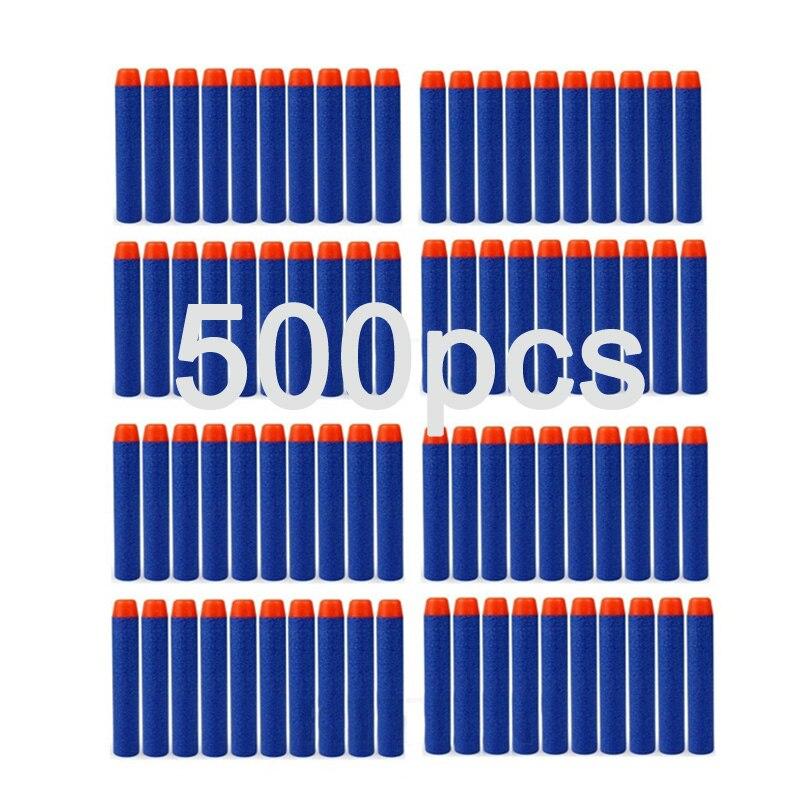 500 pièces pour Nerf balles doux creux trou tête 7.2 cm recharge fléchettes jouet pistolet balles pour Nerf série blaster Xmas enfant enfants cadeau