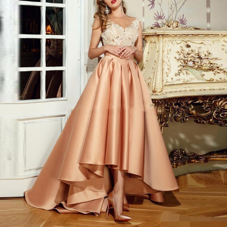 robe de soiree abiye Elegant High Low Evening Dress 2019 Appliques Lace Long Sheer Back Robe De Soiree A-Line vestido festa