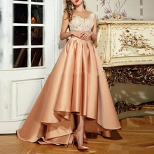 robe de soiree abiye Elegant High Low Evening Dress 2019 Appliques Lace Long Sheer Back Robe De Soiree A-Line vestido festa