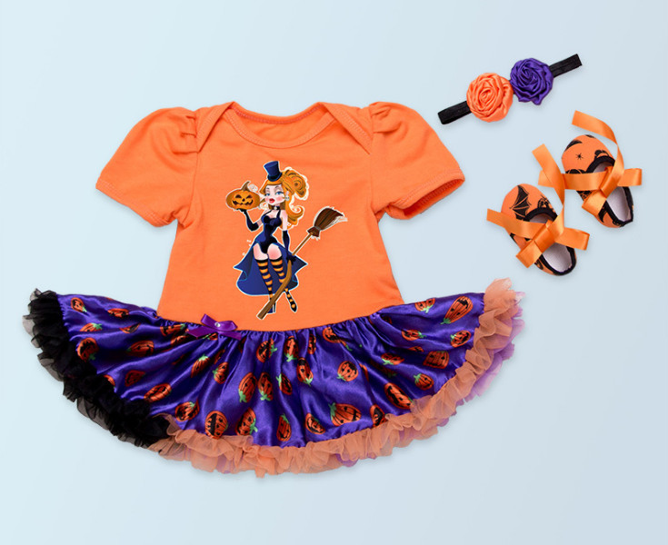 Cute Halloween Party Clothing sets For baby girls yellow Pumpkin Rompers tutu and toddler shoes and flower headbands Costume