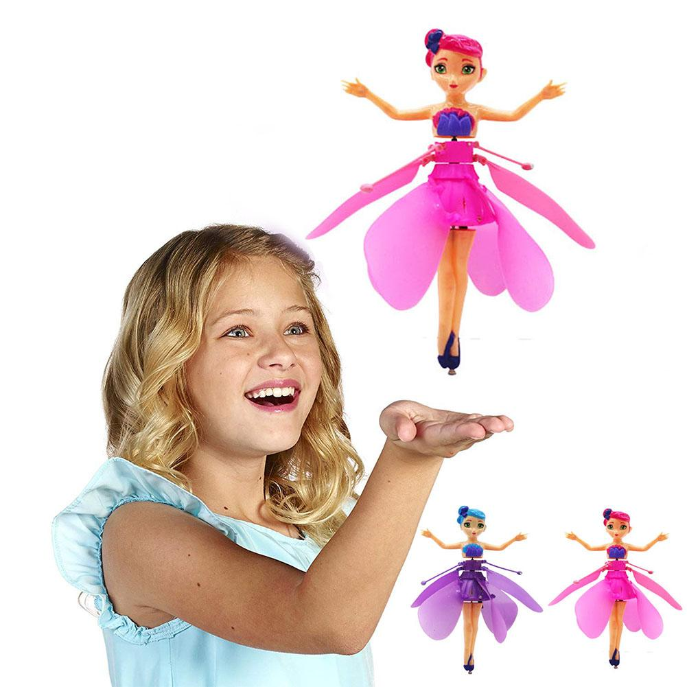 Fairy Doll Children's Flower Fairy With Lights Infrared Induction Control RC Helicopter Kids Toys Ballet Girl Flying Princess