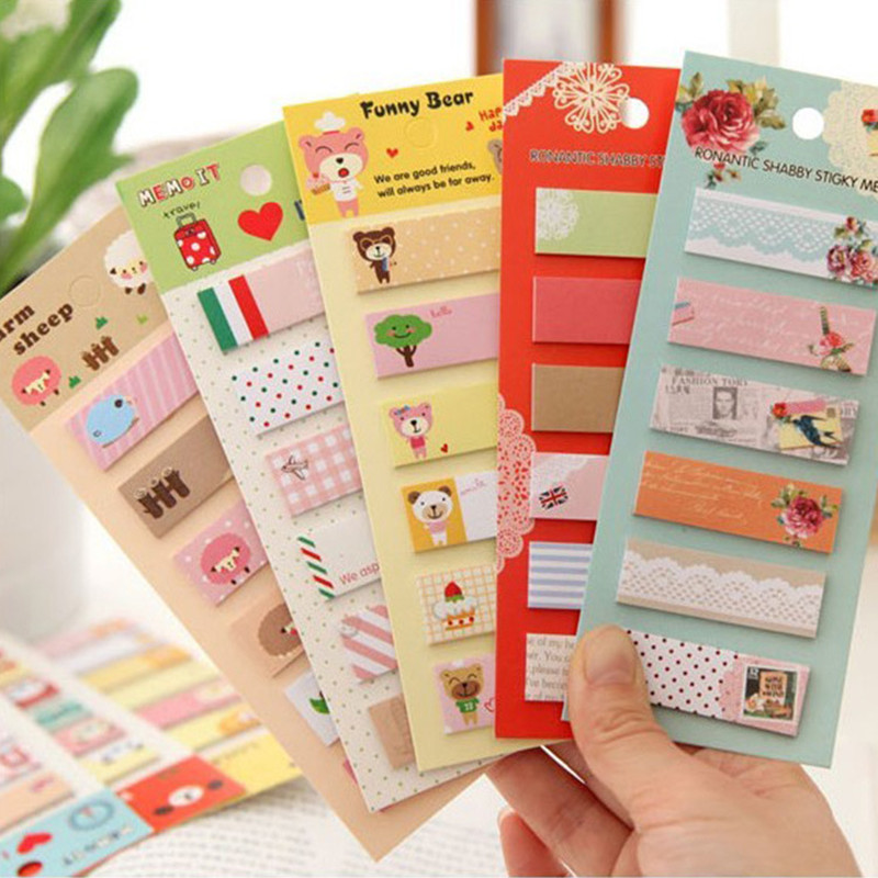 5 sets Kawaii Sticky Notes Post It Memo Pad Planner Stickers Bookmarks Repeatedly Paste the Office & School Supplies Papelaria