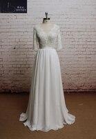 Vestido de novia V Neck Lace Wedding Dress Appliques Chiffon Plus Size Beach Wedding Dress