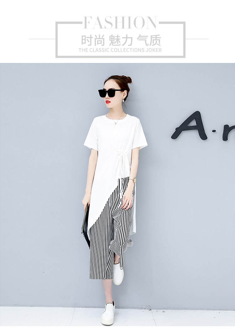 Summer Casual Two Piece Sets Women Black White Short Sleeve Tshirt And Striped Wide Leg Pants Sets Suits Plus Size Women's Sets 41