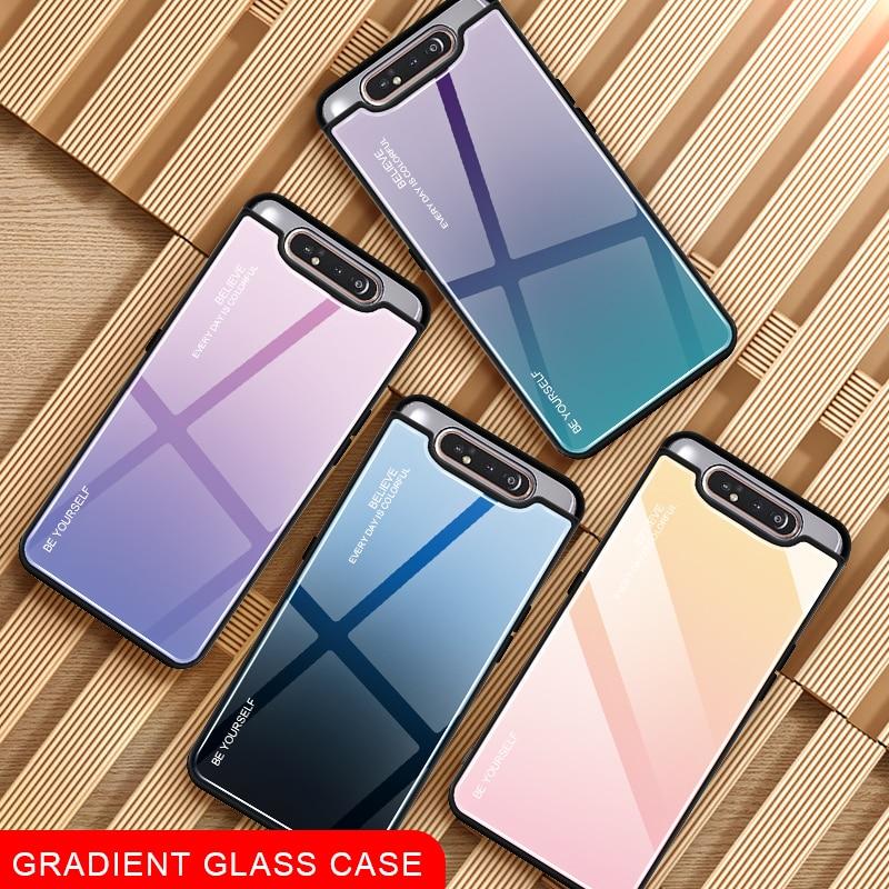 Gradiente de Vidro Caixa Do Telefone Para Samsung Galaxy A80 A90 UM 80 90 UM Caso Para Samsun SM A805F 90A 80A shell capa Fundas Capa de Segurança