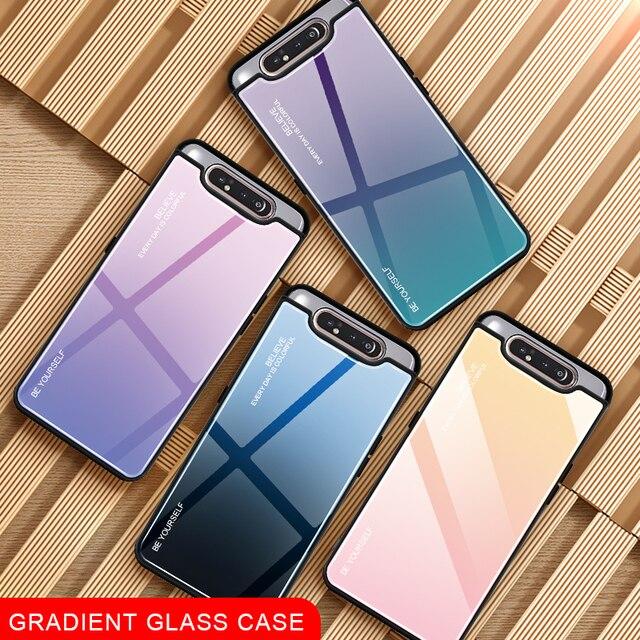 שיפוע זכוכית טלפון מקרה לסמסונג גלקסי A80 A90 A 80 90 מקרה לסמסון SM A805F 90A 80A כיסוי מעטפת בטיחות Fundas קאפה