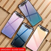 Degrade cam telefon kılıfı için Samsung Galaxy A80 A90 80 90 A kılıfı için Samsung SM A805F 90A 80A kapak kabuk koruyucu Fundas çapa