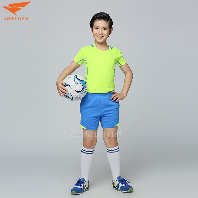 2a7eb4bb7 2017 Soccer Jerseys Set Youth Kids Football Uniforms Kits child Futbol Suit  Football Jerseys Boys Customized Number Name Logo