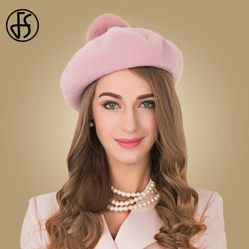 FS Pink Beret Hat For Women Wool Felt Caps With Pompom Beanies French Boina  Gorras Flat Cap Winter Female Stewardess Hats 30216180fc1