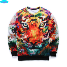 12-18years big kids brand sweatshirt boys youth fashion 3D Multicolor tiger printed hoodies jogger sportwear teens unisex W21