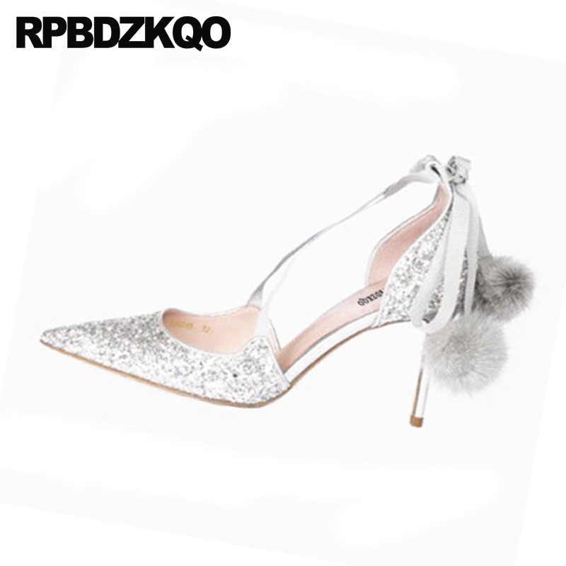 ... Ankle Strap Wedding Pumps Women Glitter Shoes Stiletto Tie Up Cross Pom  Poms Silver High Heels ... 09e606736c66