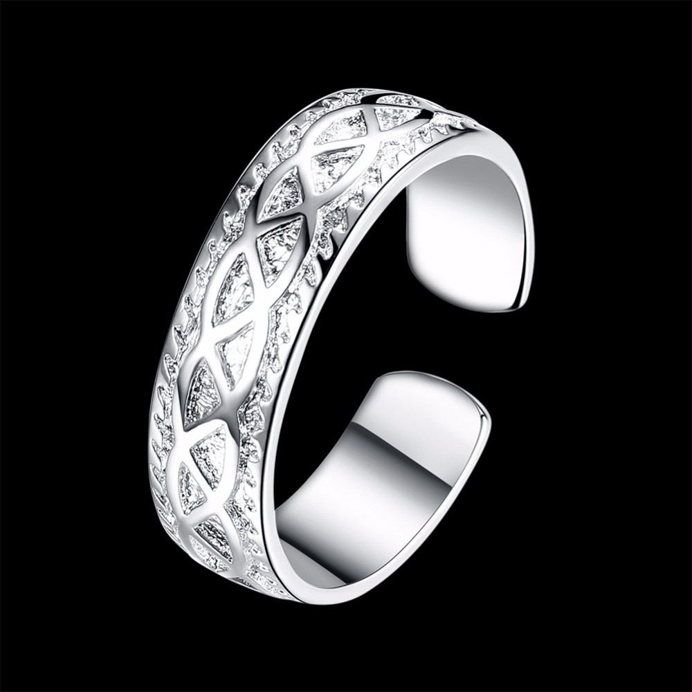 925 pure silver plated Braided Open Ring Punk Style Adjustable Twisted Ring New Years Gift Jewelry For Women Anillos