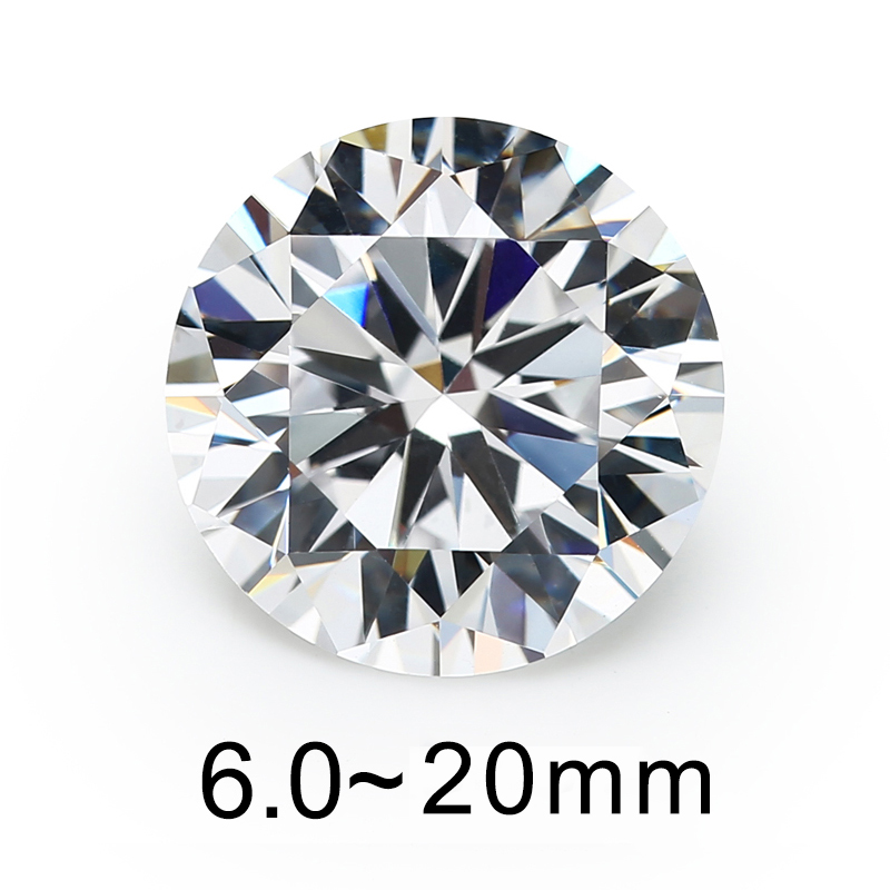 Size 5mm 8mm 10mm (6~20mm) AAAAA Round Brilliant White Larger Cubic Zirconia Stones Loose CZ Gems For Jewelry