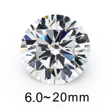 Tamanho 5mm 8mm 10mm (6 ~ 20mm) aaaaa pedras de zircônia cúbica, pedras redondas brilhantes brancas, pedras soltas, cz, para joias