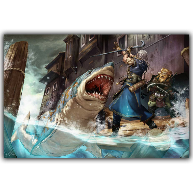Pathfinder Rpg Fantasy Dragon Board Video Games Bedroom Home Decoration Silk Fabric Canvas Poster Print Yx1267