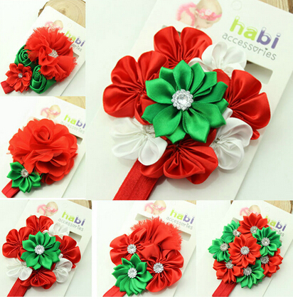 Fashion Baby Girl Christmas Hair Band 2014European Style Toddler Infant Accessories Elastic Headbands Flower OrnamentsKH021