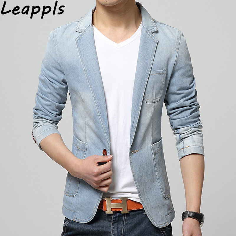 Leappls Denim jacket men blazer Severe washing Cotton Suits for men Cowboy blazer jeans jacket men jaqueta Brand-clothing Casual