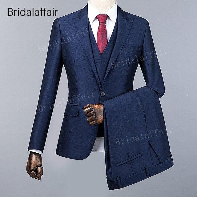 Traje de hombre azul marino a la moda de KUSON conjunto Formal Delgado Fit  trajes de 4abcb78c943