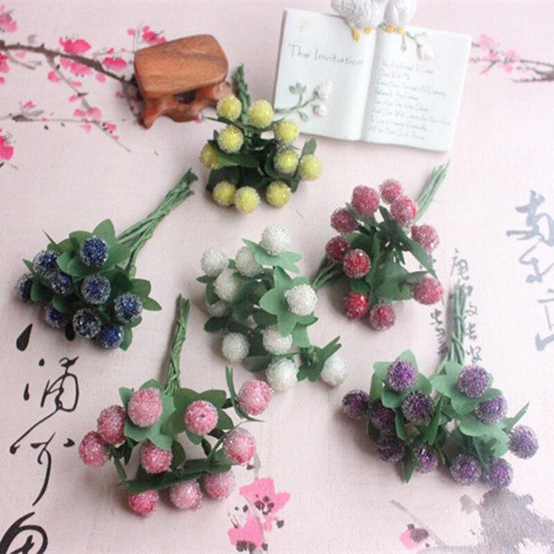 10 шт. маленькие ягоды искусственный цветок Cherry тычинки перламутровые Свадебные моделирование стекло Гранатовое украшение