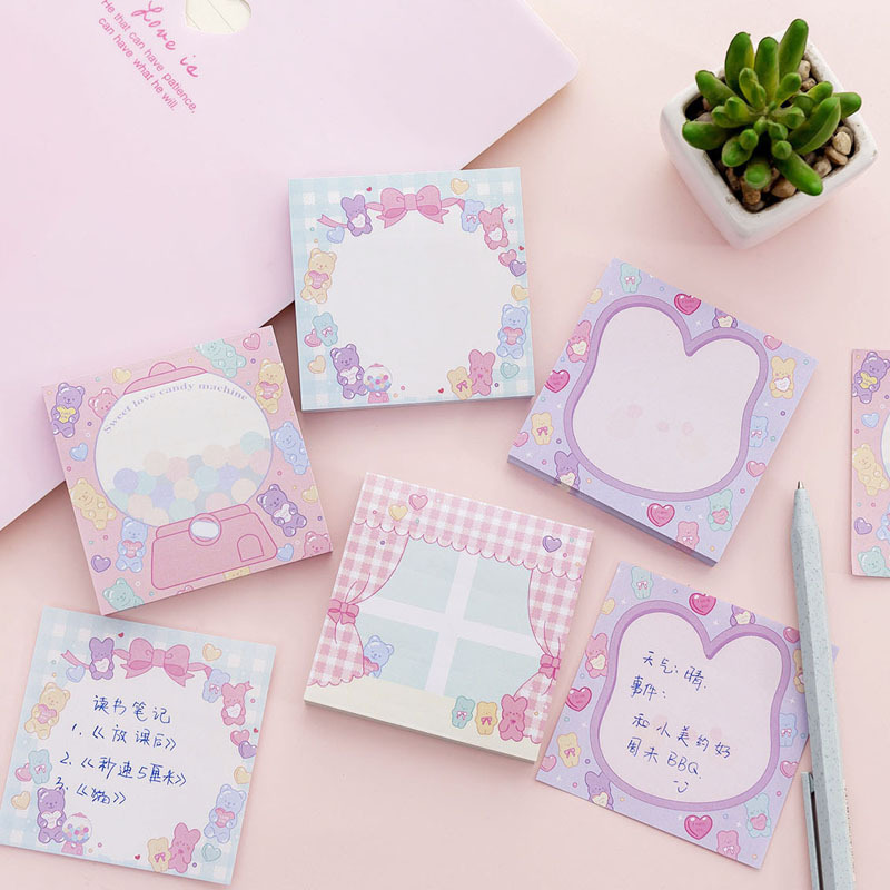 Pink Girl Sweet Candy Memo Pad Sticky Notes Sticker Label Escolar Papelaria School Office Supply