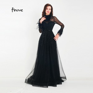 Image 4 - Finove Evening Dress 2020 New Arrivals Gorgeous Black A Line Gowns Full Sleeves Feathers Neck Line Floor Length Formal Dress