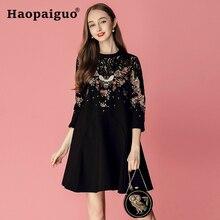 S-XXL Plus Size Fish Bee Embroidery Lace Dress Women O-neck A-Line Casual Black Elegant Midi Vestidos De Festa