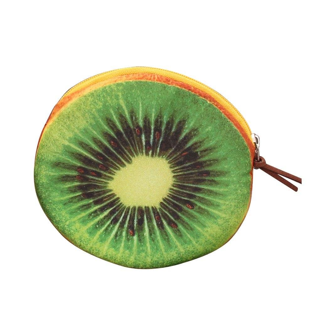 Creative Women Kids 3D Fruit Coins Card Holder Purse Zipper Pouch Bag Wallets green Kiwi