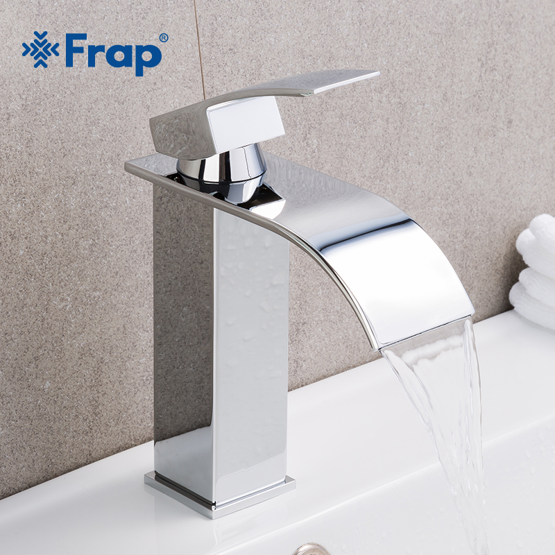 Frap Hot Sale Basin Vanity Sink Faucet Single Handle Waterfall Bathroom Mixer Deck Mounted Hot Cold