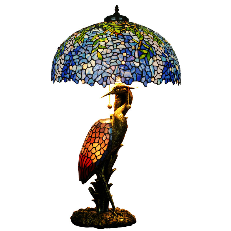 Luxury Art Deco Stained Glass Plant Bird Large Table Lamp Light Restaurant Cafe Hotel Office Front Desk Bar Counter Decorated