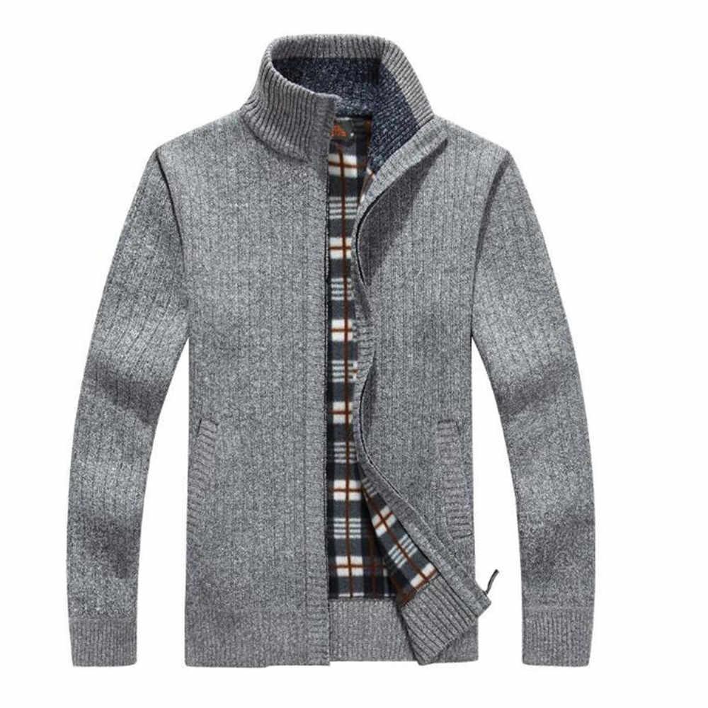 bf495874bf64e Для мужчин кардиганы Свитера Топ поступает осень-зима воротник-стойка  Повседневная одежда для Для
